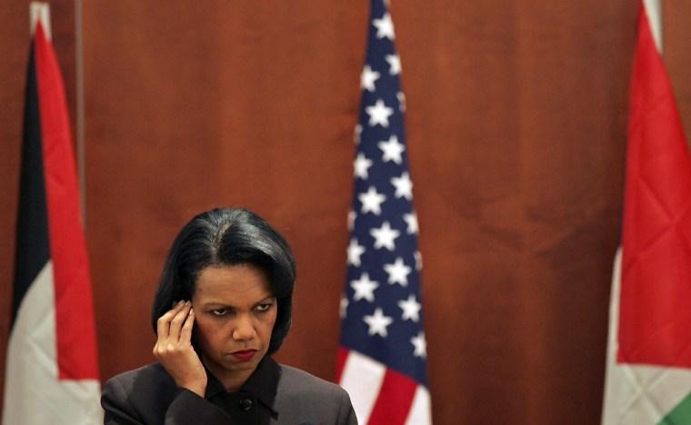 U.S. Secretary of State Condoleezza Rice listens to the questions in Jericho