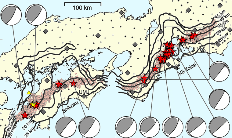 On this map of Japan's earthquake sensor network, stars indicate very low-frequency earthquakes and circles point to deep low-frequency tremors. The plus and diamond symbols represent the NIED Hi-net and F-net stations, respectively. The yellow triangle indicates the epicenter of an ordinary earthquake with a moment magnitude of 3.4.