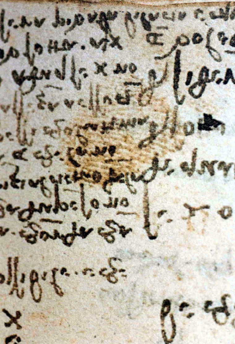 This undated photo provided by the University of Chieti, Italy, shows fingerprints believed to be those of master Leonardo Da Vinci.