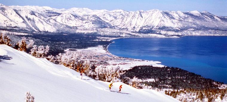 Skiers make their way down the slopes at Heavenly Ski Resort in South Lake Tahoe, Calif.