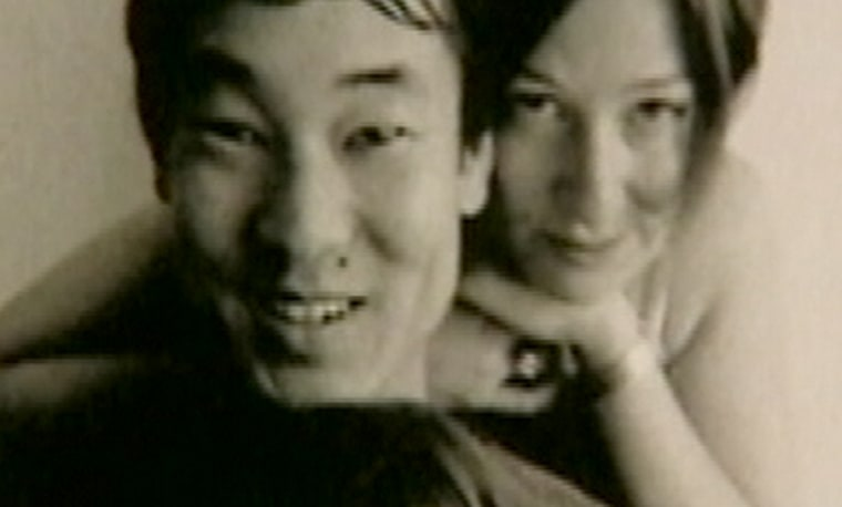 James Kim is seen in an undated family photo posing with his wife, Kati. James Kim's bodywas discovered Wednesday in a snowy Oregon canyon.