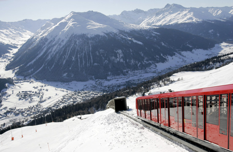 The Parsenn cable railway enters a tunnel in the ski resort of Davos, Switzerland, Jan. 24, 2006.