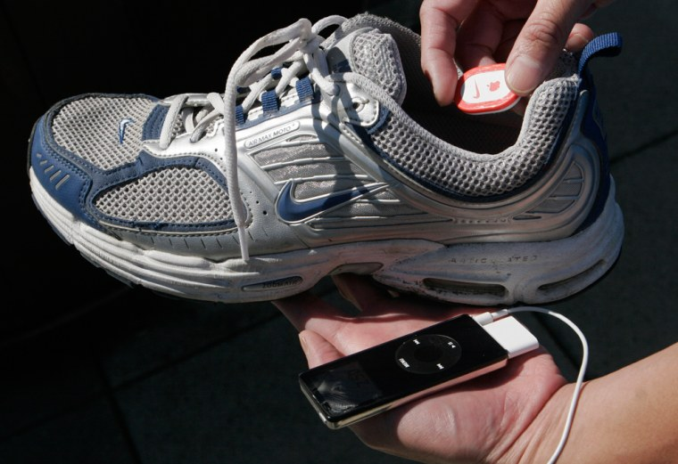 The Nike + iPod running systemallows users to transfer data on distance, time, pace and calories burned from specially equipped Nike sneakers to their iPod nano.
