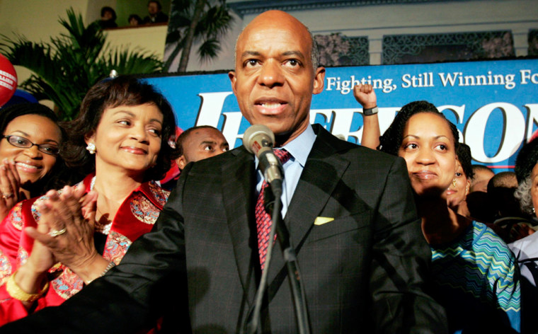 Congressman William Jefferson speaks during election night victory party in New Orleans