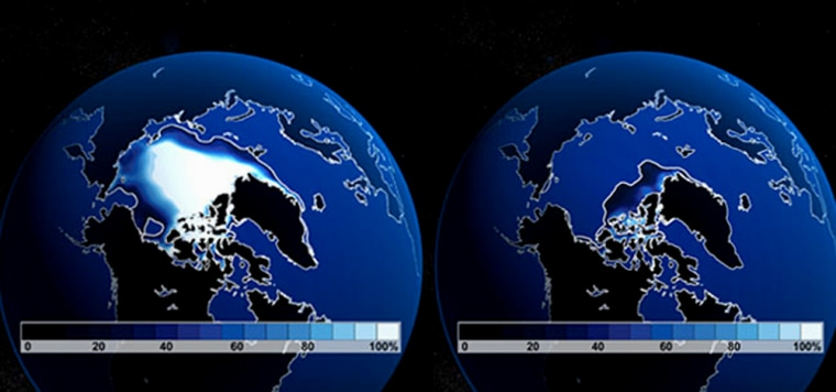 The image at left, based on simulations produced by the Community Climate System Model, shows the approximate extent of Arctic sea ice in September. Unless greenhouse gas emissions are significantly curtailed, the Arctic may be nearly devoid of summer sea ice by 2040 (image at right).
