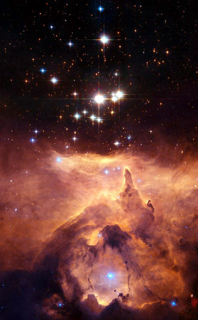 The Pismis 24 star cluster sits within the emission nebula NGC 6357, seen here in an image taken by the Hubble Space Telescope.