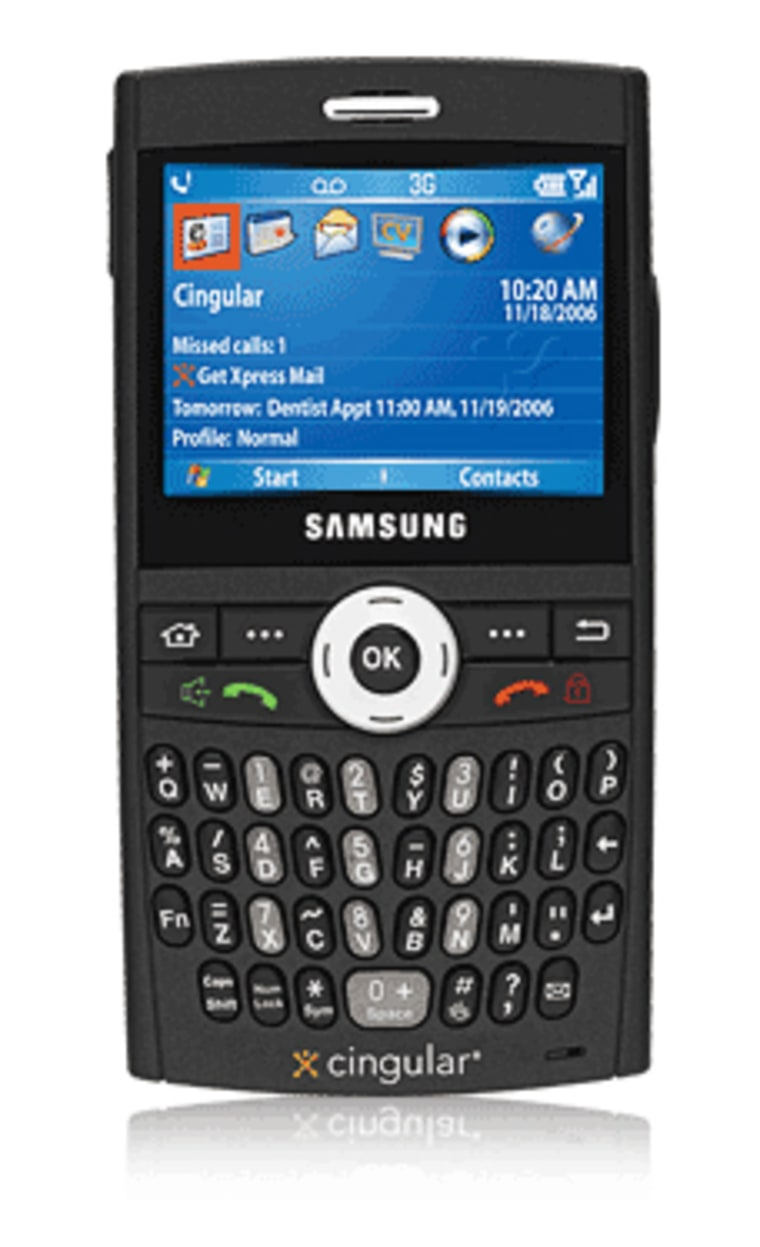 Samsung's new Blackjack smart phone is being offered exclusively by Cingular.