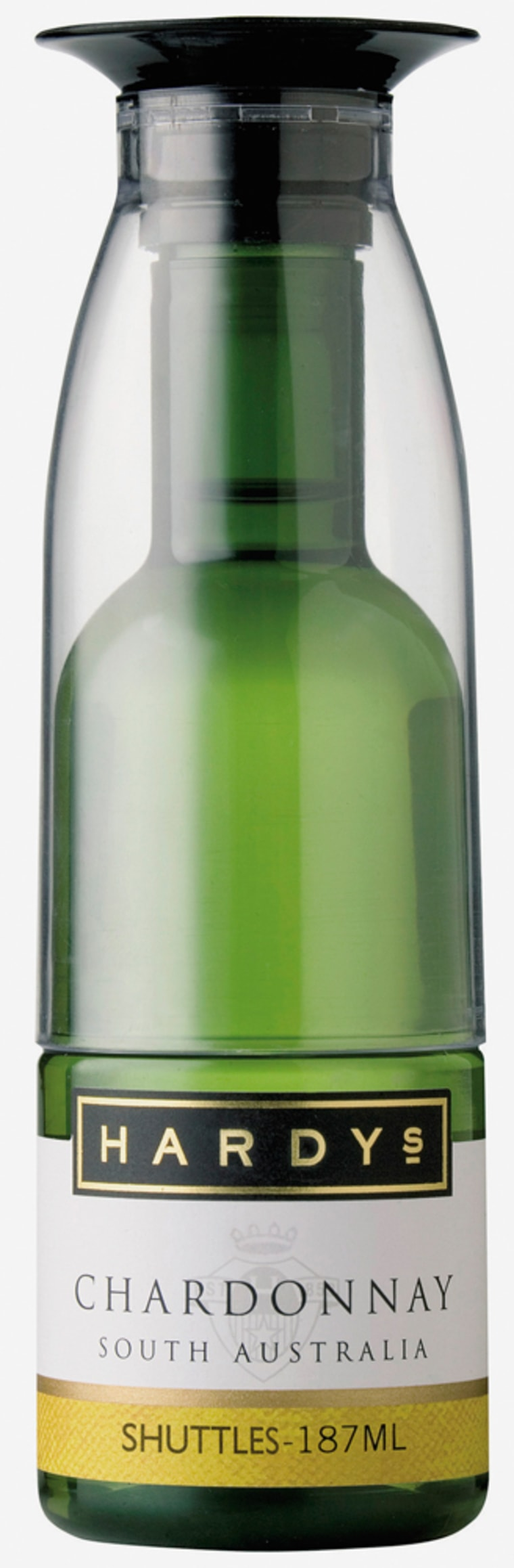 Handout photo shows plastic wine bottle and attached cup, which holds one glass of wine