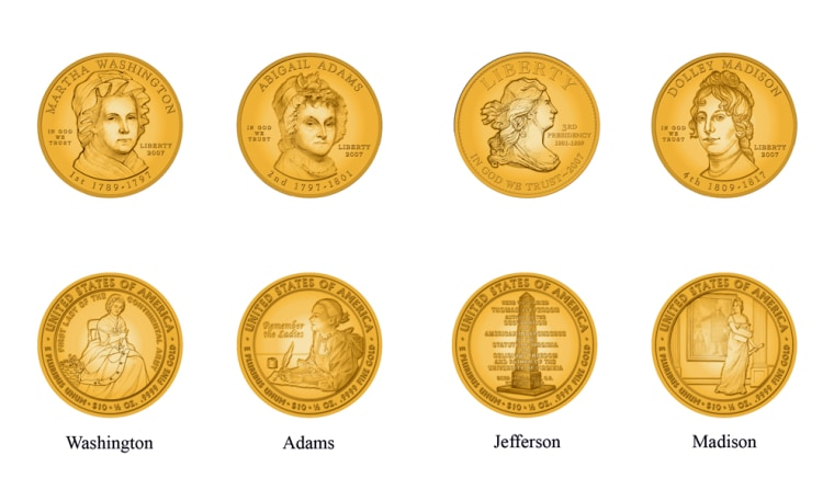 These images, provided by the U.S. Mint, show designs for the proposed coins in the upcoming 'First Spouse Coin' series.