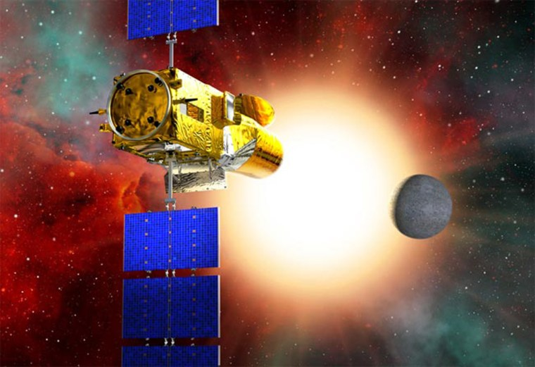 An artist's impression of the COROT satellite, set to launch on Dec. 27. COROT will use its telescope to monitor closely the changes in a star's brightness that comes from a planet crossing in front of it. While it is looking at a star, COROT will also be able to detect 'starquakes', acoustical waves generated deep inside a star that send ripples across a star's surface, altering its brightness.