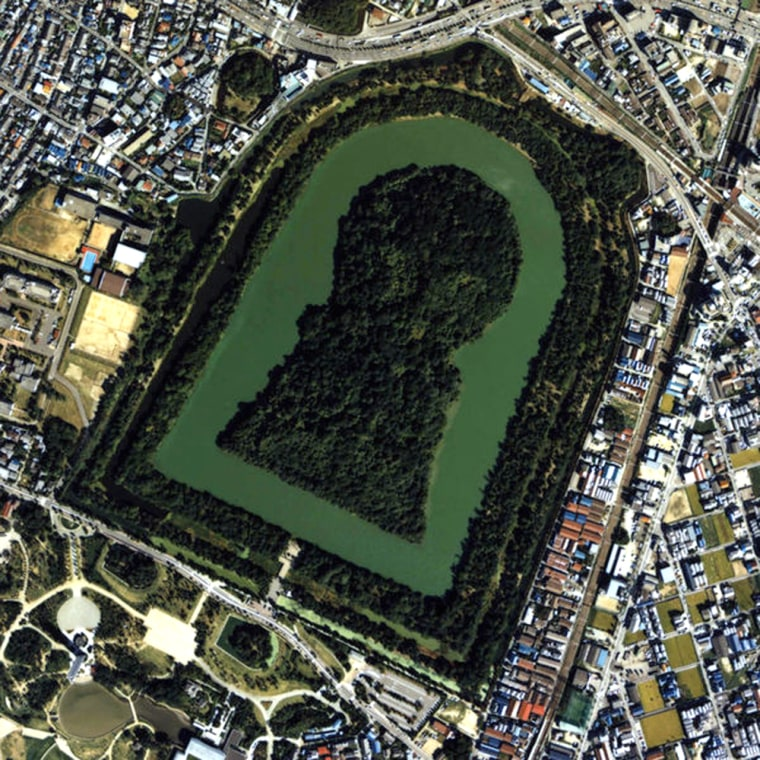 An aerial image shows the keyhole-shaped tomb complex for Emperor Nintoku, who is thought to have died in the late fourth or early fifth century.