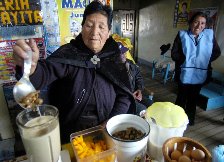 Timotea Cordova , 80, prepares a traditional elixir to ward off the breathless effect of the high altitude in Junin, Peru. For hundreds of years, Quechua Indians have grown maca, the frost-resistant root that grows in these frigid Andean highlands, to boost stamina and sex drive. The root, they believe, is nature's bounty and belongs to everyone and to no one in particular.