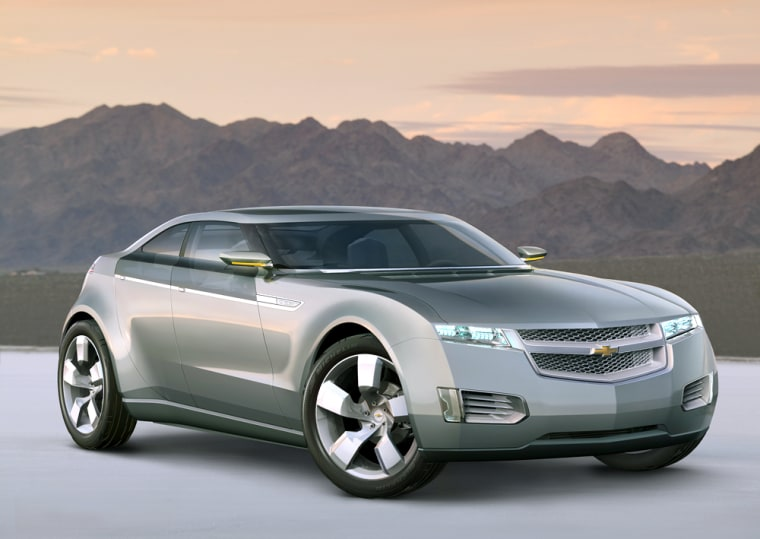General Motors'Chevrolet Volt battery-powered concept car wowed auto show attendees,although it's probably years away from production.