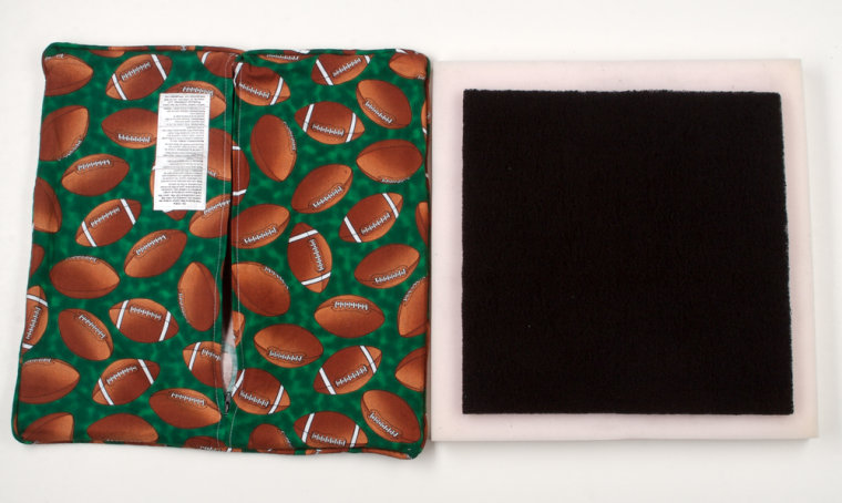 The GasBGon anti-flatulence seat cushion encloses a carbon filter in number of decorativestyles, including this football print so your Super Bowl guests won't call you for a personal foul odor.