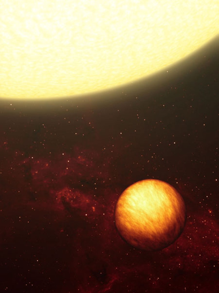 """An artist's illustration of a Jupiter-like planet soaking up the scorching rays of its nearby sun. Scientists now believe that the temperatures on """"hot Jupiter"""" planets are constant, thanks to super-fast winds."""