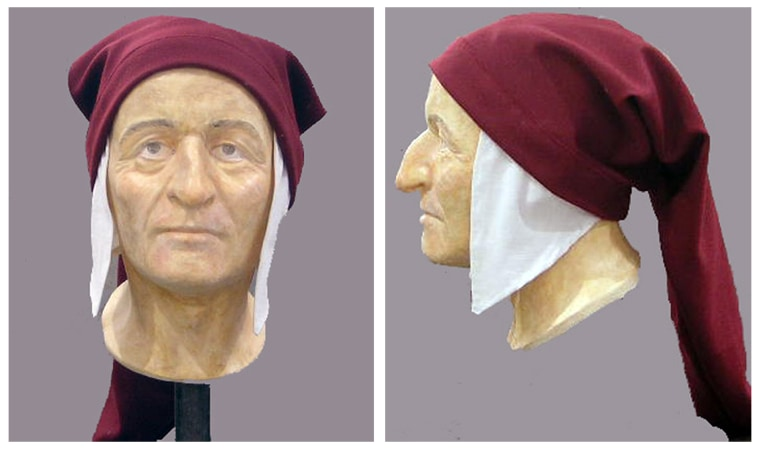 The bust of Italian poet Dante appears as a three dimensional reconstruction from the University of Bologna