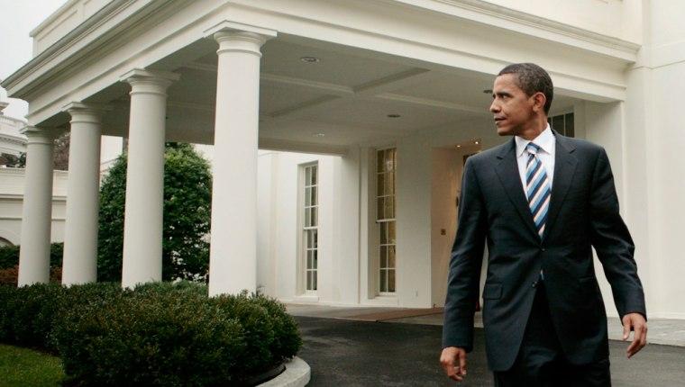 U.S. Senator Barack Obama leaves the White House after a meeting with U.S. President George W. Bush in Washington