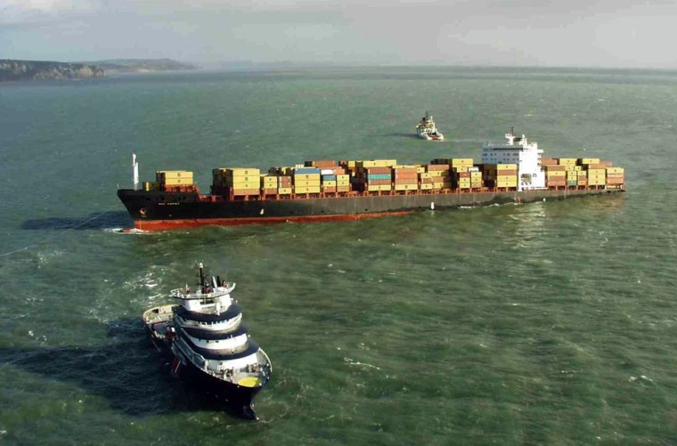 The beached cargo ship MSC Napoli sits Saturday a mile off the coast near Sidmouth, Great Britain.