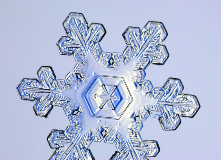 Snowflakes are created when snow crystals stick together, and somecontain several hundred crystals.