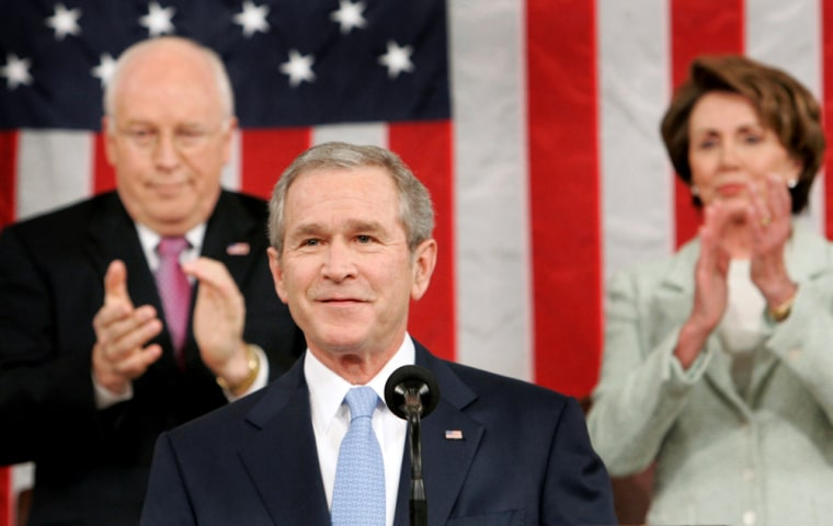 US President Bush arrives to deliver his annual State of the Union speech to a joint session of Congress in Washington