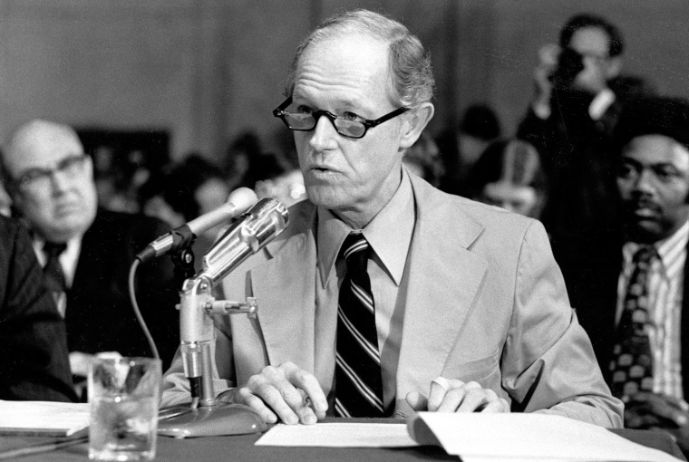 E. Howard Hunt responds to a question from the counsel for the Senate Watergate Committee in Washington, D.C., in this Sept. 24, 1973, file photo.
