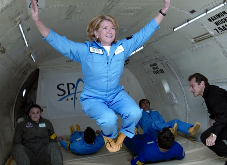 Martha Stewart floatsduringa Zero-G flight in Florida in January of last year. Stewart made a call to the International Space Station to speak with the astronauts living aboard it.