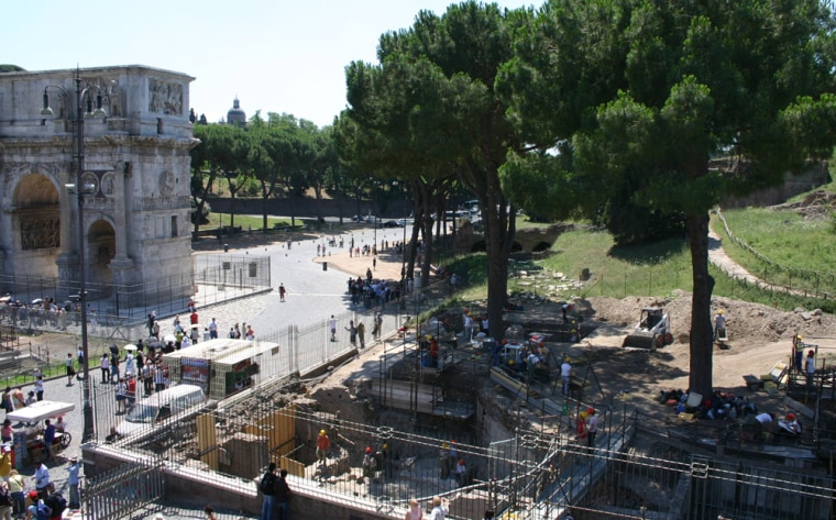 A photo released by the Archaeological Superintendent's Office in Rome shows researchers at work on Palatine Hill, the birthplace and power center of ancient Rome.