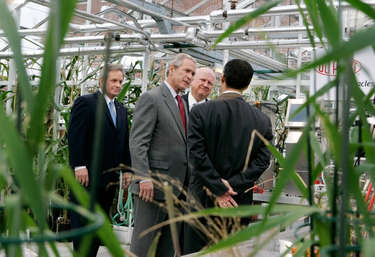U.S. President George W. Bush tours the DuPont Experimental Station in Delaware