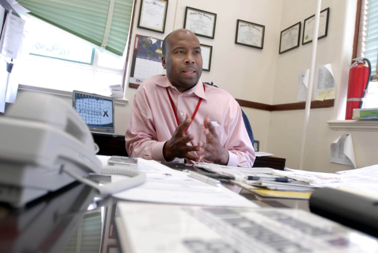 L.E. Rabouin High School principal Kevin George talks about the difficulty of acquiring and retaining teachers at the Louisiana Recovery School District school in New Orleans onJan. 12.