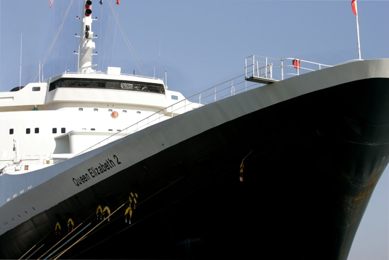 The famed Queen Elizabeth 2 ocean liner is shown docked in San Francisco after a norovirus outbreaksickened hundreds of cruisers.