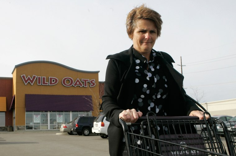 Roberta Mand leaves a Wild Oats grocery store in Mason, Ohio. Mand goes to Kroger for routine grocery shopping, Costco for her fresh meats, Fresh Market for pre-made meals, and Wild Oats for sushi.