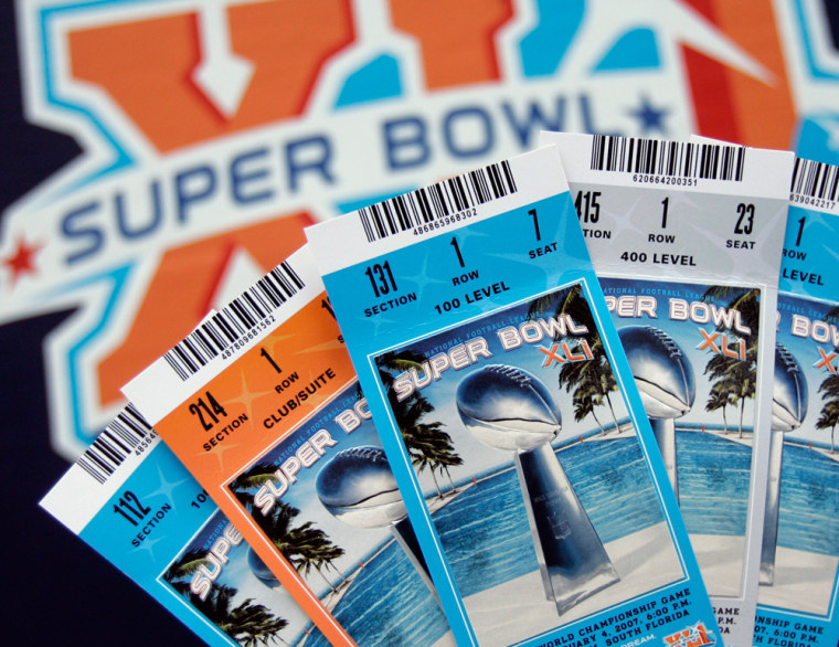 """How much are tickets for Super Bowl XLI? Face value is$600 or $700. But if you buy """"secondhand,"""" be prepared to payup to $5,000."""