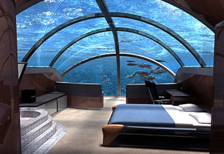Ever get the urge to sleep with the fishes? Resort owners think you do. At least two companies are competing to build the first full-fledged underwater hotel. Bruce Jones, president of Poseidon Undersea Resorts, says his company is on track to complete an undersea resort near a Fijian island by the end of 2008.