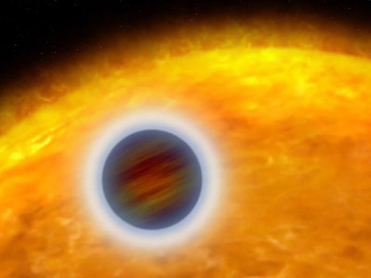 This artist's illustration shows the Jupiter-size, extrasolar planet, called HD 209458b, orbiting close to its star. Starlight heats the planet's atmosphere, causing hot gas to escape into space.