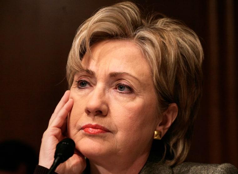 U.S. Senator Rodham Clinton listens during a nomination hearing of Adm. Fallon in Washington