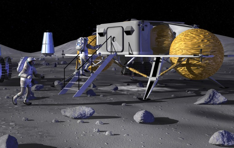 An artist's conception shows astronauts walking up to an early lunar habitat. The actual habitat, due for deployment in the 2020s, may be made of inflatable material and covered with moon dirt.