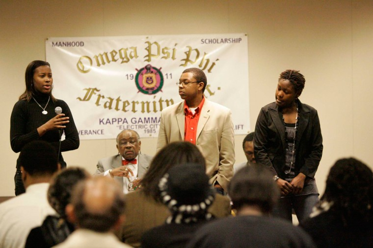 """Clemson University student Raniece McDonald, left, talks about """"gangsta"""" theme parties during a community forum on Tuesday in Anderson, S.C."""