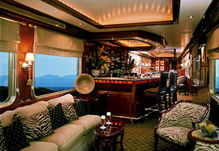 South Africa's fabulous five-star hotel on tracks gets its name — The Blue Train — from its distinctive sapphire-blue carriages that have traversed the bush veld between Pretoria and Cape Town since the 1940s.
