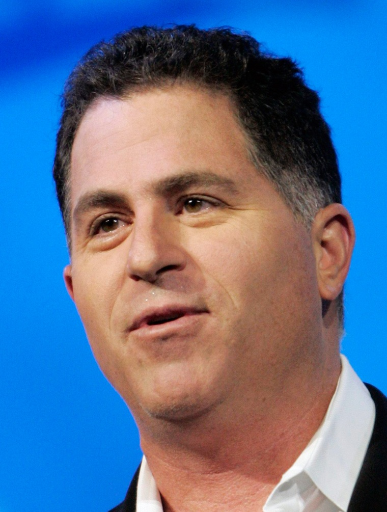 File photo shows Michael Dell, chairman of Dell Inc., delivering his keynote address in Las Vegas