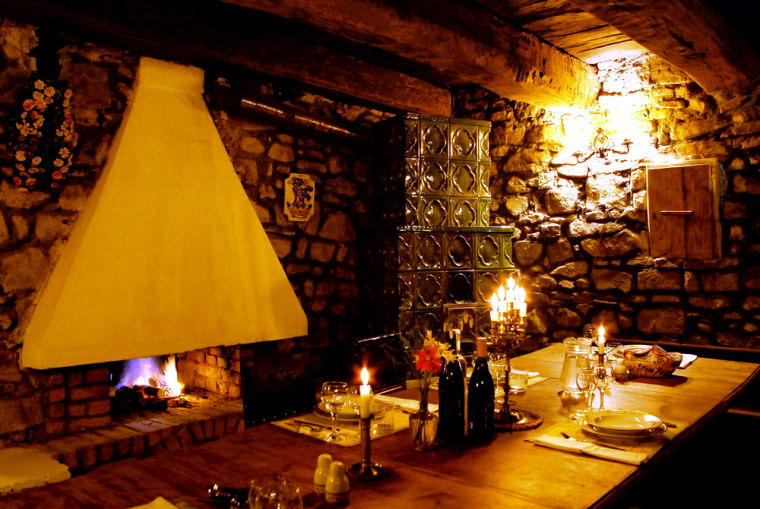 Guests of Count Kalnoky's 19th century manor house in the Hungarian village of Miclosara, Romania, can eat dinner in this cellar room.
