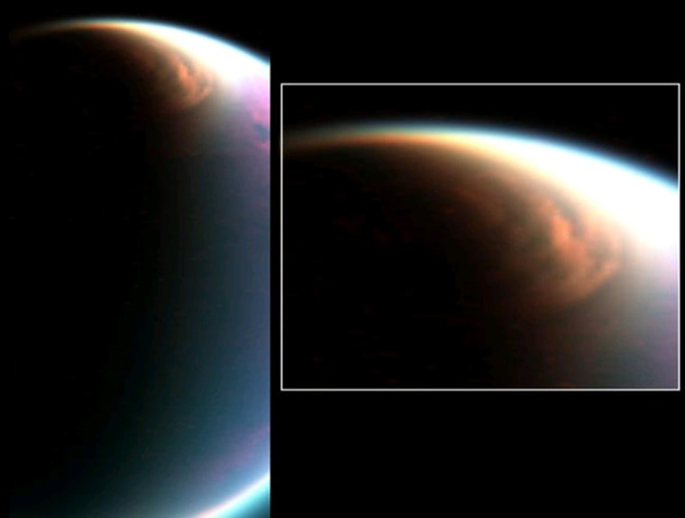 This composite image shows the cloud, imaged at a distance of 54,000 miles (90,000 kilometers) during a Titan flyby designed to observe the limb of the moon. The cloud extends down to 60 degrees north latitude.