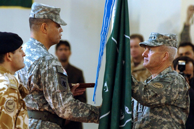 Incoming US Army General Dan K. McNeill