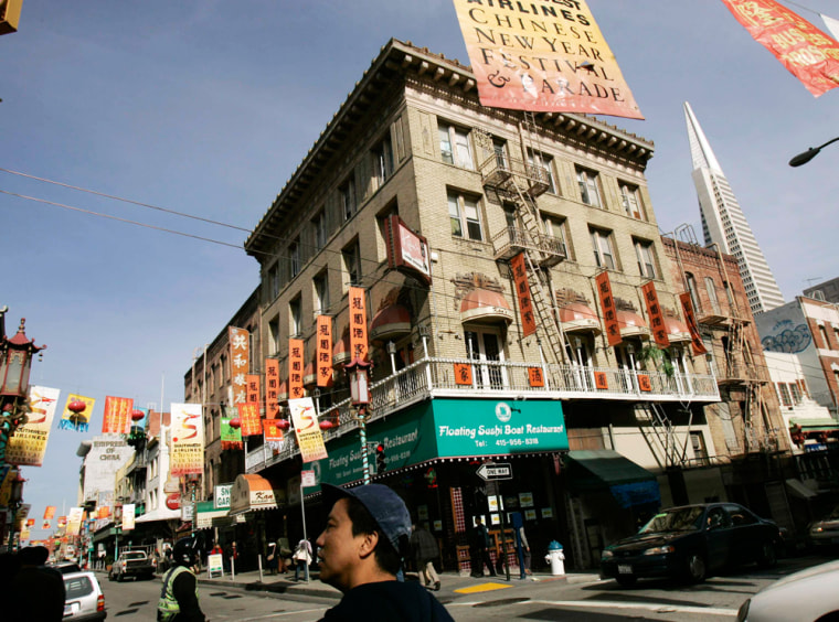 Chinese New Year banners hang along the streets of the Chinatown neighborhood of San Francisco