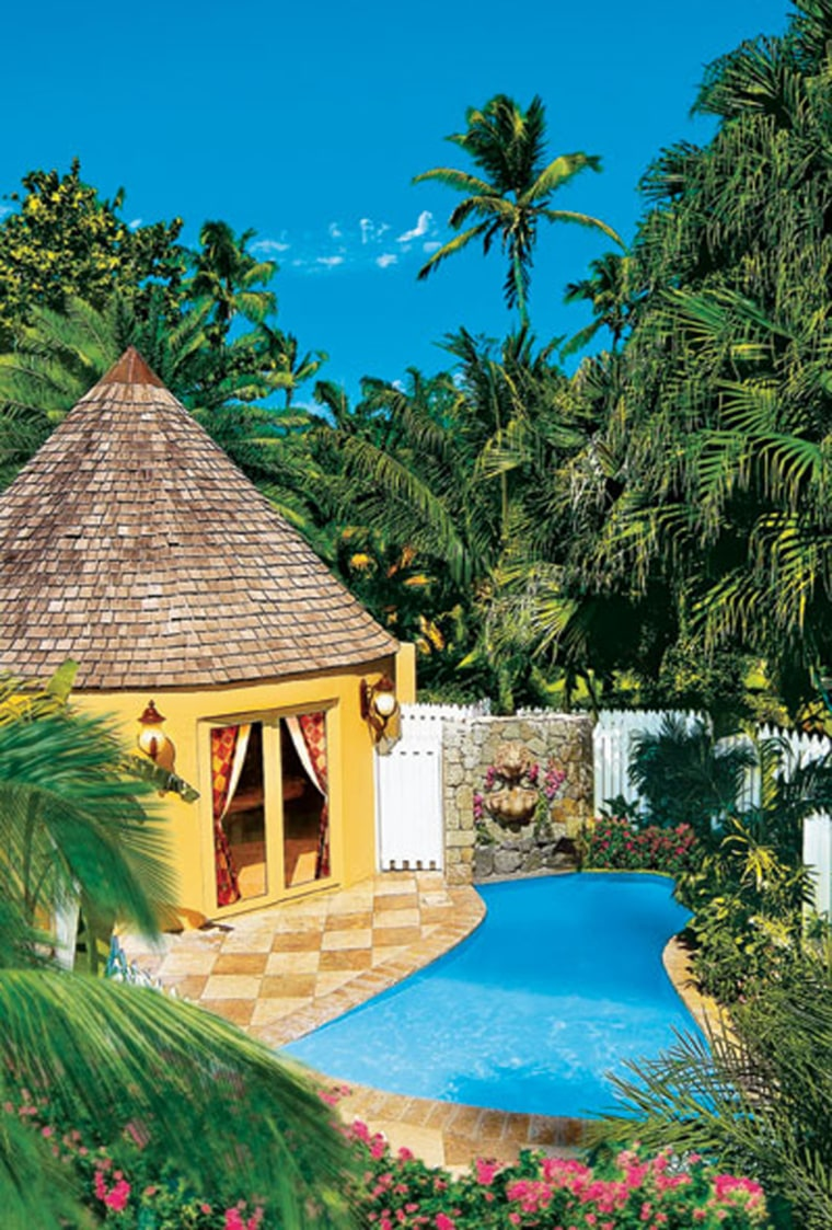Honeymoon Garden Rondoval suites at Sandals Caribbean Village & Spa all-inclusive resort.