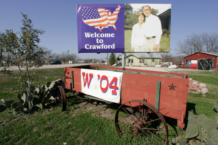 A billboard showing President Bush and Laura Bush is shown along a road entering into Crawford, Texas. The souvenir shops in President Bush's hometown have fallen on hard times, in what some say is a gauge of his plummeting popularity.