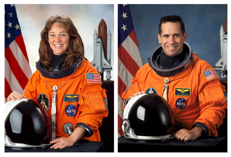 This combination photo shows NASA Astronaut Lisa Nowak and William Oefelein in there official NASA portraits