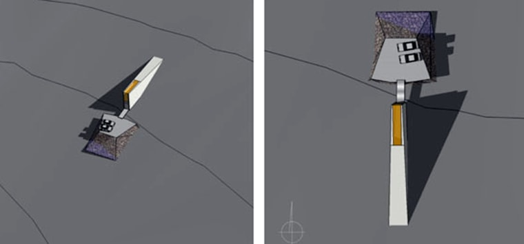 Two views of the proposed entrance to the Norwegian government's doomsday vault for seeds, with cars presented as a size reference.