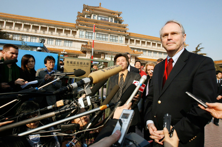 U.S. Assistant Secretary of State and chief negotiator Hill answers a question in Beijing