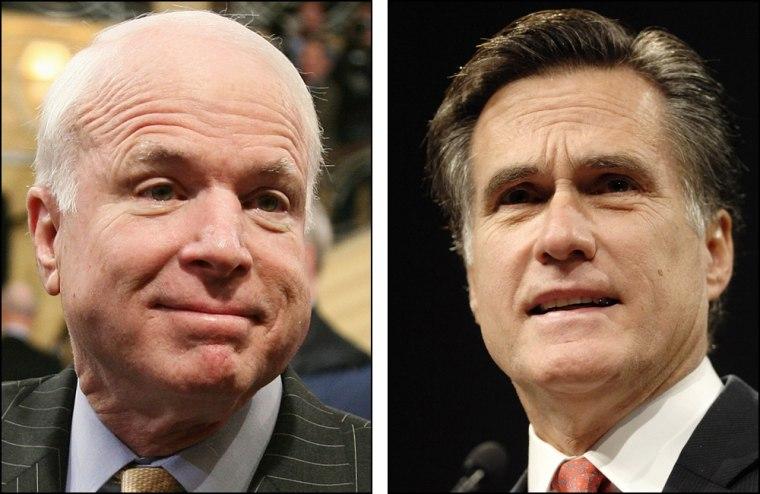 Sen. John McCain, former Mass. Gov. Mitt Romney