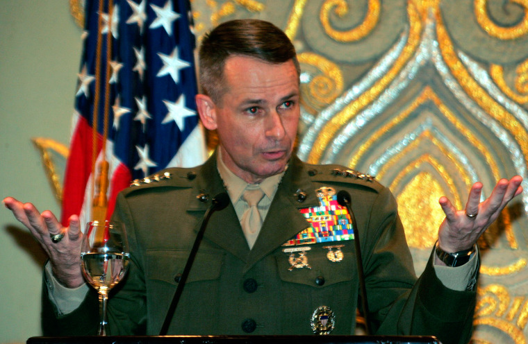 U.S. Chairman of the Joint Chiefs of Staff General Pace speaks in a news conference in Jakarta